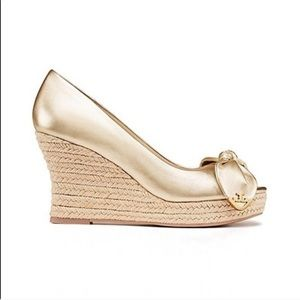 Tory Burch Dory Gold Metallic Wedge Sandals